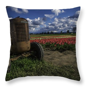 Throw Pillow featuring the photograph Tractor N' Tulips by Ryan Smith