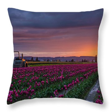 Tractor Waits For Morning Throw Pillow