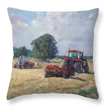 Tractors In The Farm Georgetown Throw Pillow