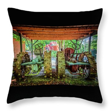 Throw Pillow featuring the photograph Tractors Side By Side by Debra and Dave Vanderlaan