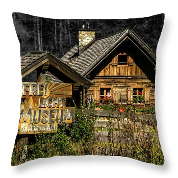Traditional Austrian Wooden House Throw Pillow