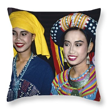 Throw Pillow featuring the photograph Traditional Dressed Thai Ladies by Heiko Koehrer-Wagner
