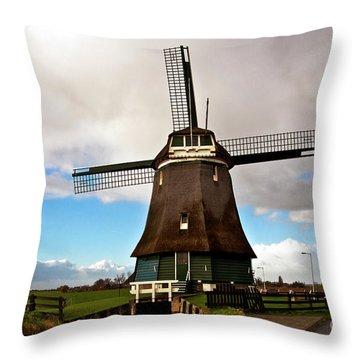 Traditional Dutch Windmill Near Volendam  Throw Pillow