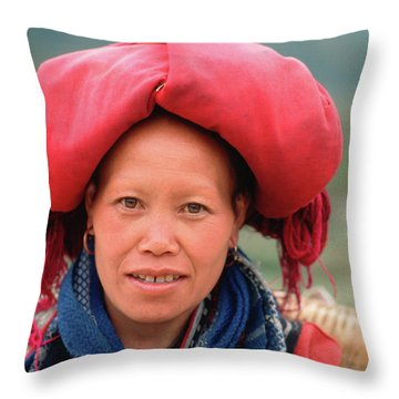 Traditional Fashion Of A Red Dzao Woman Throw Pillow