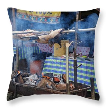 Throw Pillow featuring the photograph Traditional Market In Taiwan Native Village by Yali Shi