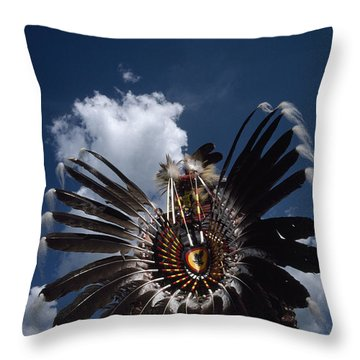 Traditional Native American Dancers Throw Pillow by Lynn Johnson