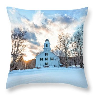 Throw Pillow featuring the photograph Traditional New England White Church Etna New Hampshire by Edward Fielding