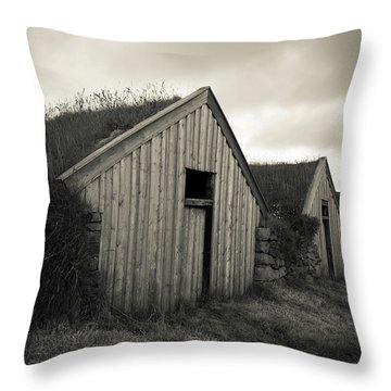 Throw Pillow featuring the photograph Traditional Turf Or Sod Barns Iceland by Edward Fielding