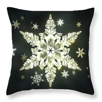 Traditional Sunlight Snowflakes Throw Pillow