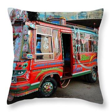 Traditionally Decorated Pakistani Bus Art Karachi Pakistan Throw Pillow