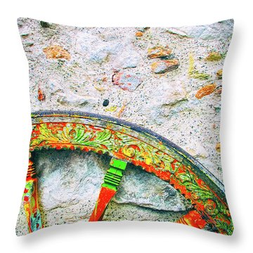 Throw Pillow featuring the photograph Traditional Sicilian Cart Wheel Detail by Silvia Ganora