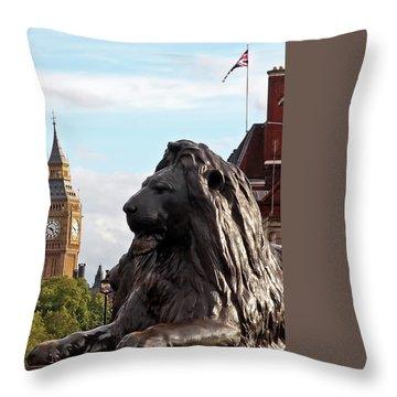 Trafalgar Square Lion With Big Ben Throw Pillow by Gill Billington