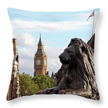 Trafalgar Square Lion With Big Ben Throw Pillow