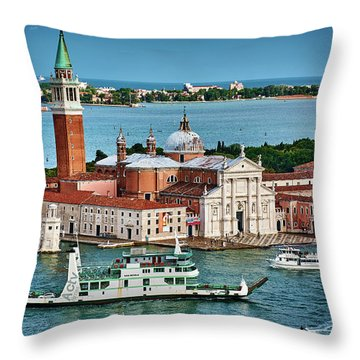 Traffic Around The Venetian Church Throw Pillow