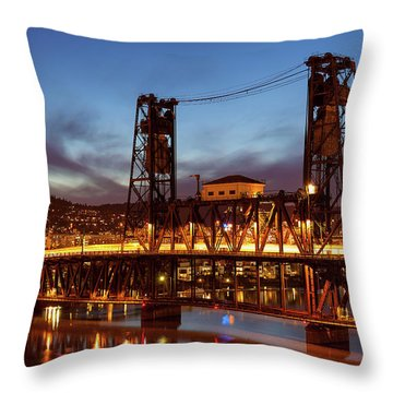 Traffic Light Trails On Steel Bridge Throw Pillow by David Gn