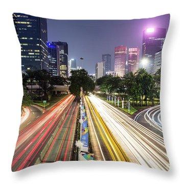 Traffic Night Rush In Jakarta, Indonesia Capital City.  Throw Pillow
