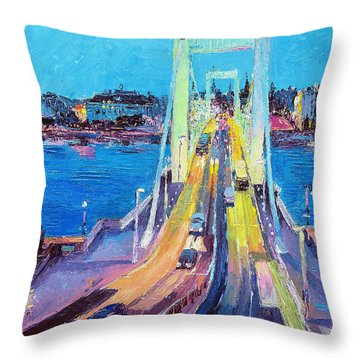 Traffic On Elisabeth Bridge At Dusk Throw Pillow