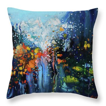 Throw Pillow featuring the painting Traffic Seen Through A Rainy Windshield by Dan Haraga
