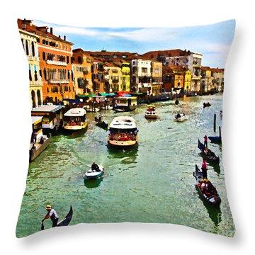 Traghetto, Vaporetto, Gondola  Throw Pillow