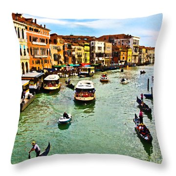 Traghetto, Vaporetto, Gondola  Throw Pillow