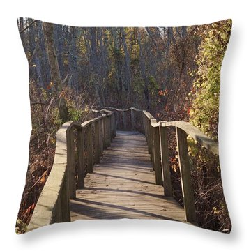 Trail Bridge Throw Pillow
