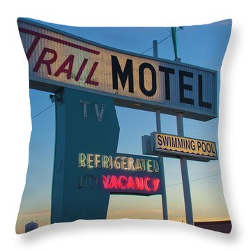 Trail Motel At Sunset Throw Pillow
