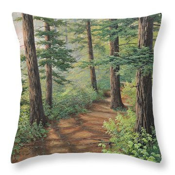 Trail Of Green Throw Pillow