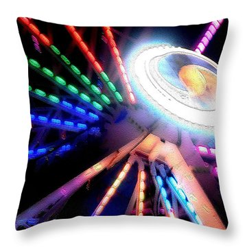 Trail Of Lights Abstract #7486 Throw Pillow by Barbara Tristan