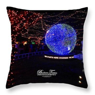 Trail Of Lights World #7359 Throw Pillow by Barbara Tristan