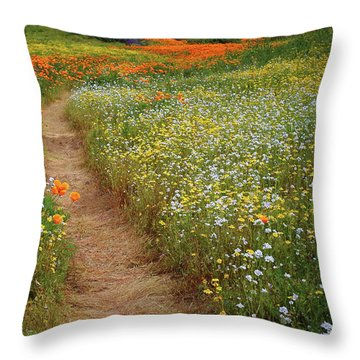 Throw Pillow featuring the photograph Trail Of Wildflowers At Diamond Lake In California by Jetson Nguyen