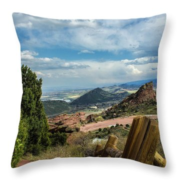 Throw Pillow featuring the photograph Trails At Red Rocks by Tyson Kinnison