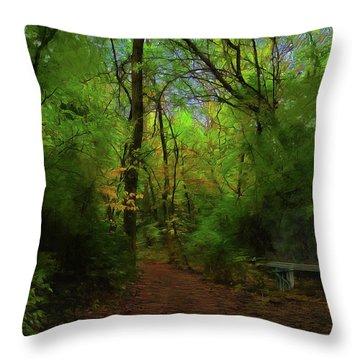 Trailside Bench Throw Pillow by Cedric Hampton