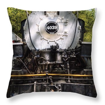 Train - Engine - 4039 American Locomotive Company  Throw Pillow by Mike Savad