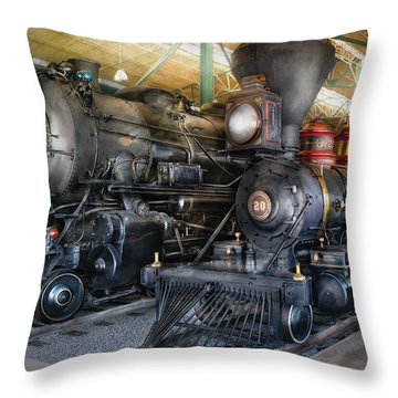 Train - Engine - Steam Locomotives Throw Pillow by Mike Savad