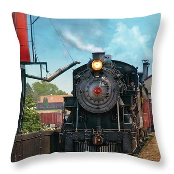 Train - Engine - Strasburg Number 9 Throw Pillow by Mike Savad