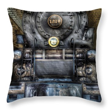 Train - Engine -1218 - Norfolk Western Class A - 1218 - Front View Throw Pillow by Mike Savad