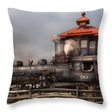 Train - Engine -the Great Western 90 Throw Pillow by Mike Savad