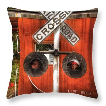 Train - Yard - Railroad Crossing Throw Pillow by Mike Savad