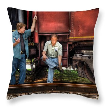 Train - Yard - Shoot'in The Breeze Throw Pillow by Mike Savad