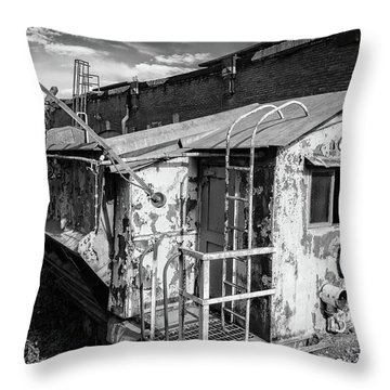 Train 6 In Black And White Throw Pillow