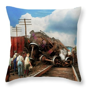 Throw Pillow featuring the photograph Train - Accident - Butting Heads 1922 by Mike Savad