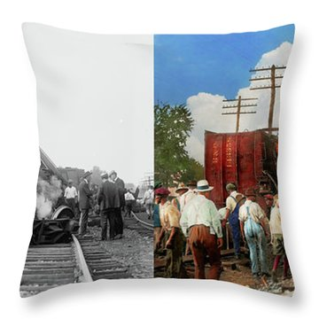 Throw Pillow featuring the photograph Train - Accident - Butting Heads 1922 - Side By Side by Mike Savad