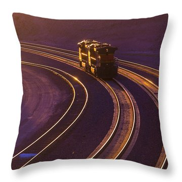 Train At Sunset Throw Pillow