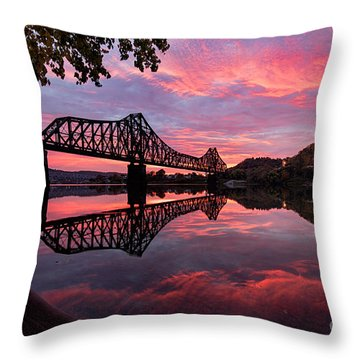 Train Bridge At Sunrise  Throw Pillow