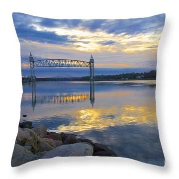 Train Bridge Sunrise  Throw Pillow