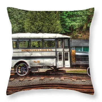 Train - Car - The Rail Bus Throw Pillow by Mike Savad