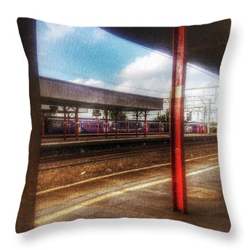 Throw Pillow featuring the photograph Train Coming In by Isabella F Abbie Shores FRSA