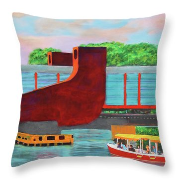 Train Over The New River Throw Pillow