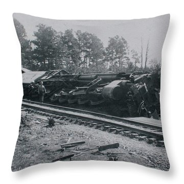 Train Derailment Throw Pillow