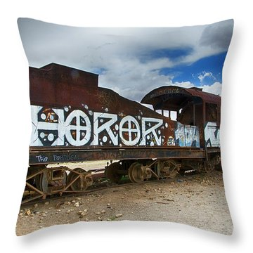 Train Graveyard Uyuni Bolivia 13 Throw Pillow
